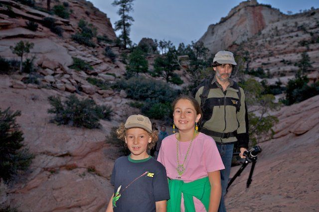Stephanie's family on a Dance of the Deer pilgrimage retreat in Zion.