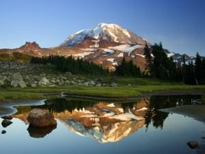 mountain reflection mirror water