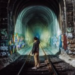 Realistic Painting Of Train Tunnel on Wall