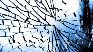 glass cracking outward