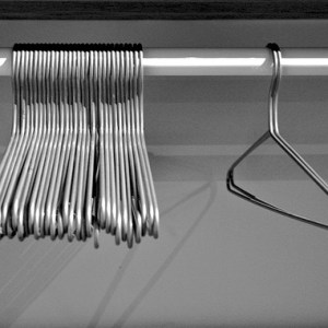 metal coat hangers in closet