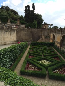 Nancy admiring the fancy plantings at the Boboli Gardens.