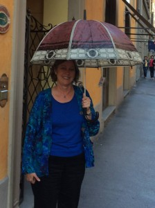 "Cathe poses with her best find -- ""Il Duomo"" as an umbrella."