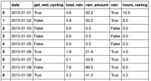 """""""Rainy_days"""" examines how much rain there was daily in the dataset with how often commuters got wet."""