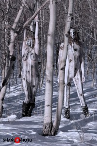 Body painted nude in aspen trees. Mythica of Skin Wars and ShaneOPhoto