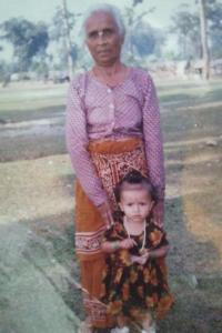 Hema with her great-grandma in Nepal