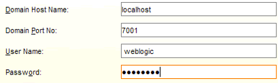 Enter the host name and port of your weblogic domain and then enter the domain's admnistrator credentials