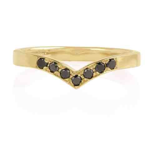 טבעת V משובצת יהלומים שחורים