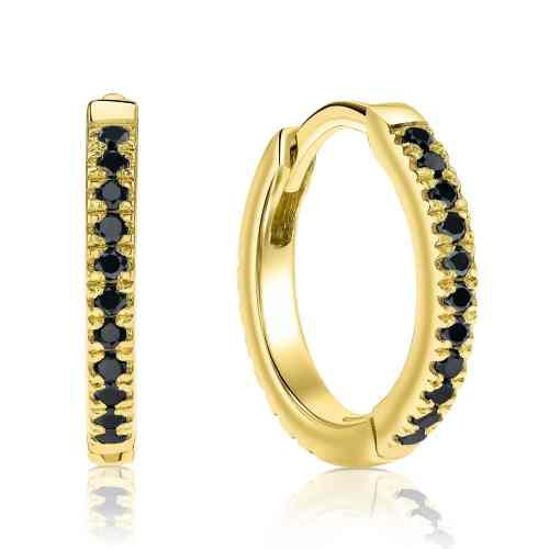 עגילי חישוק משובצים יהלומים שחורים