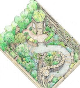 Garden deisgn services include RHS Flower Show Cardiff 2015 show garden Nurture in Nature coloured design