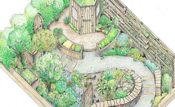 RHS Flower Show Cardiff 2015 show garden Nurture in Nature coloured design