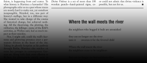"A magazine page showing part of a poem called ""Where the wall meets the river."""