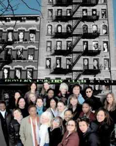 Cover of Bowery Women anthology, with a black-and-white photo of a New York City building showing fire escapes and poets' faces in the windows, and a large group of women in color in standing in the foreground.