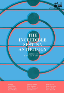 Cover of The Incredible Sestina Anthology, edited by Daniel Nester, with a green and red patter of a spiral on a blue background.