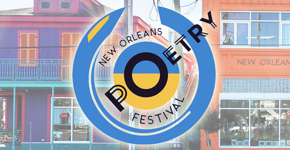 New Orleans Poetry Festival logo superimposed on a color photograph of the bright orange facade of the New Orleans Healing Center on St. Claude Boulevard
