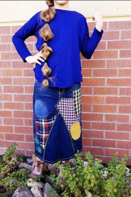 TARTAN Plaid Denim Skirt