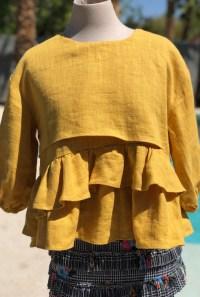Mustard layered top 3/4 sleeves