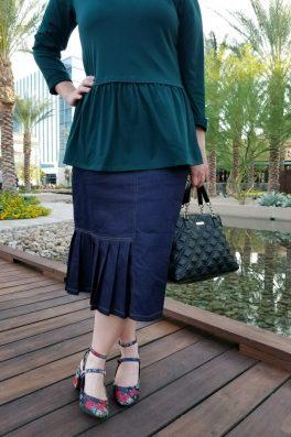 Denim Pleated Pencil Skirt