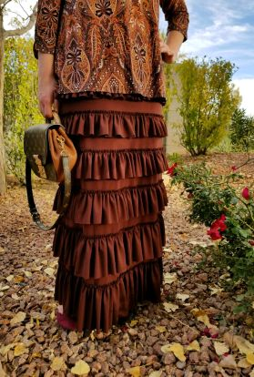 Brown ruffle eleganza skirt