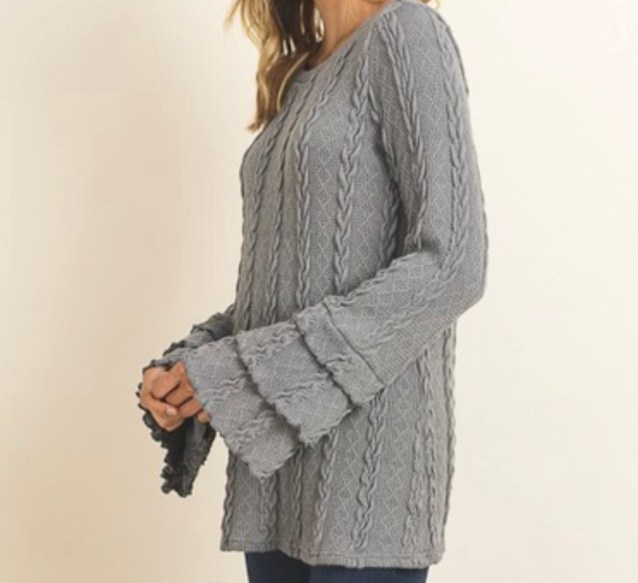Gray ruffle sleeve sweater