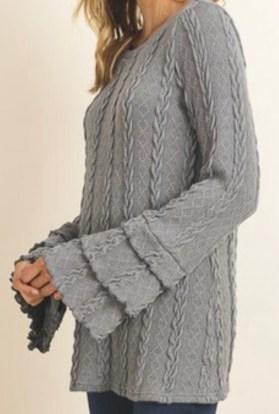 Gray ruffle sleeve sweater