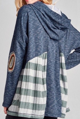 Blue patched bohemian hoodie