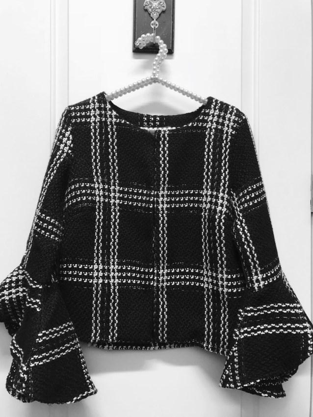 Black tweed ruffle sleeve Jackie coat