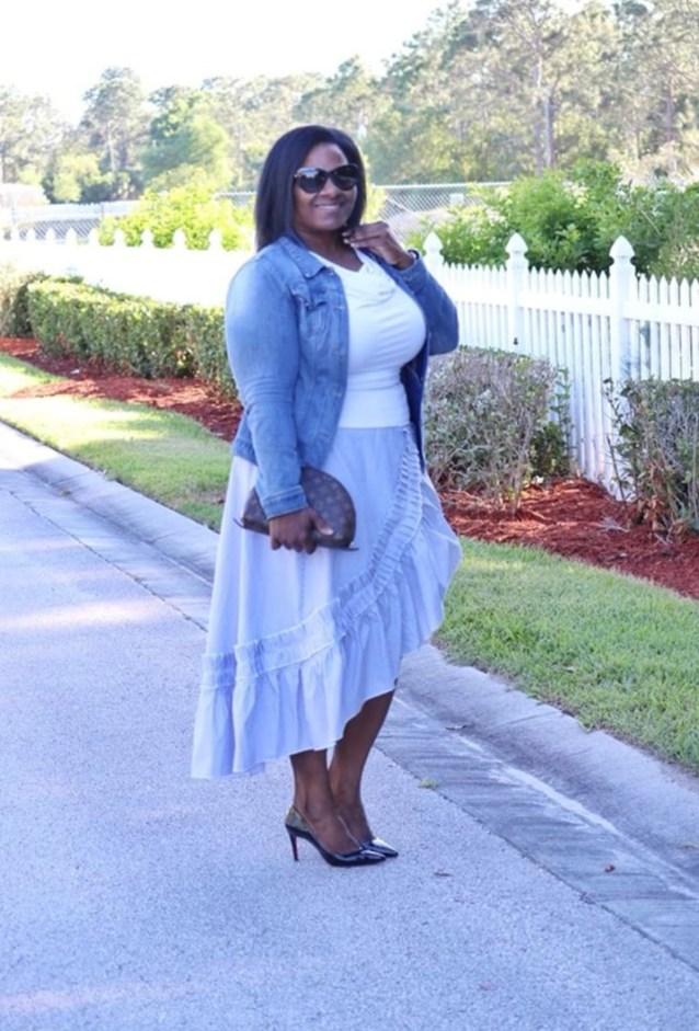 Stripe maxi wrap skirt with ruffle