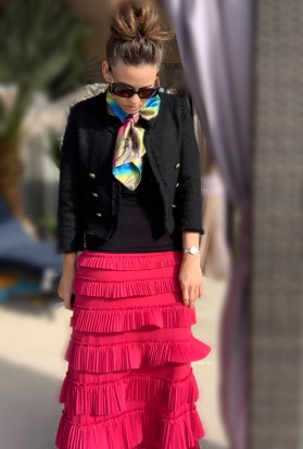 Pleated eleganza skirt ~ pink