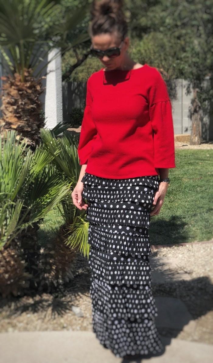 Pleated elegance skirt ~ Polka dot