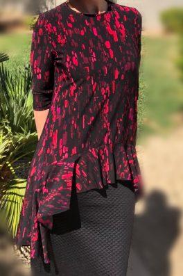 Zari Ruffle Tunic – Pink Black