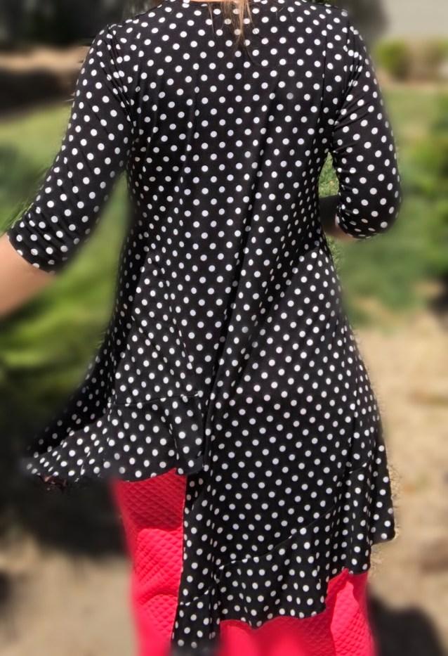 Zari ruffle tunic - polka dot