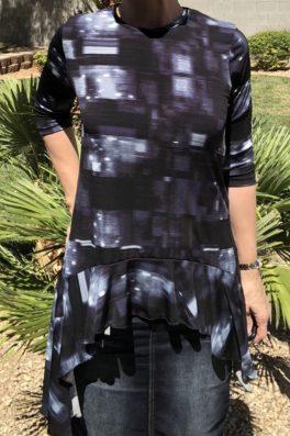 Zari Ruffle Tunic – Black Blue