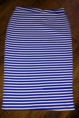 Blue stripe pencil skirt