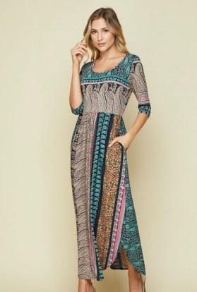 paisley long maxi dress green swirl