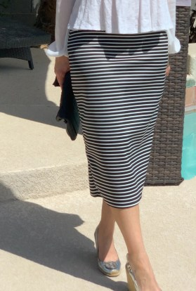 Black white stripe pencil skirt