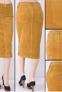 Mustard corduroy pencil skirt