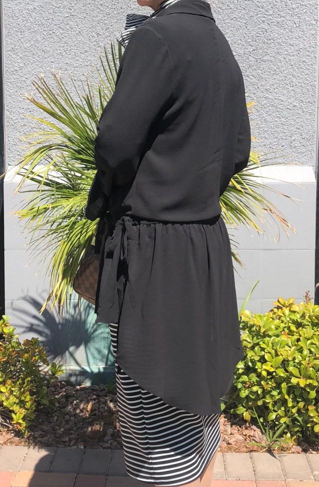 Black high low sheer tunic