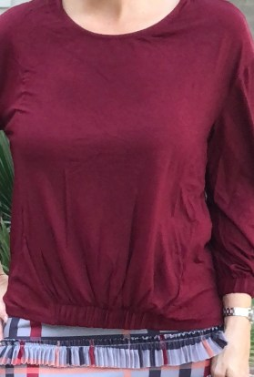 Burgundy solid knit top