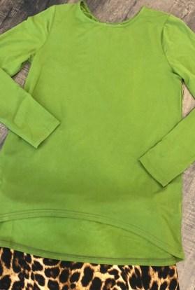 Green long sleeve high low top