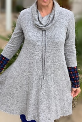 Gray fleece swing sweater dress plaid cuffs