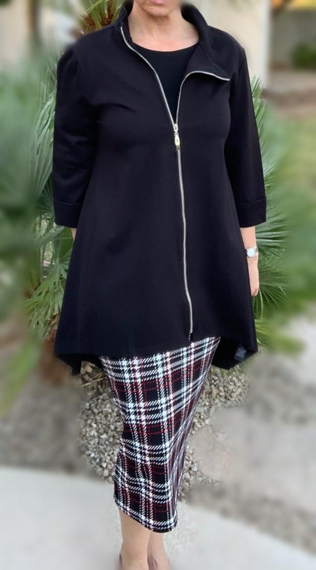 Black asymmetric zip up jacket