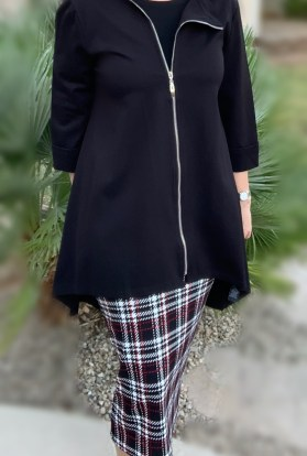 Black asymmetric zip up jacket