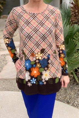Plaid flower power tunic