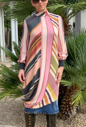 irregular stripe tunic dress