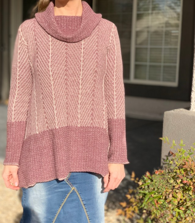 Mauve pink shark bite turtleneck sweater
