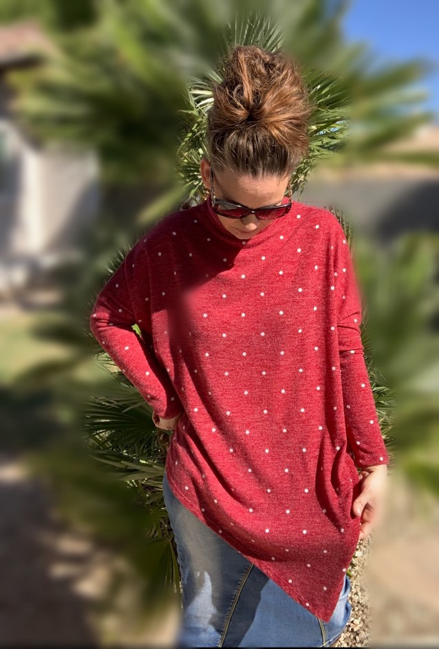 Red polka dot poncho sweater