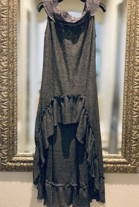 Dark gray lace hi low ruffle duster