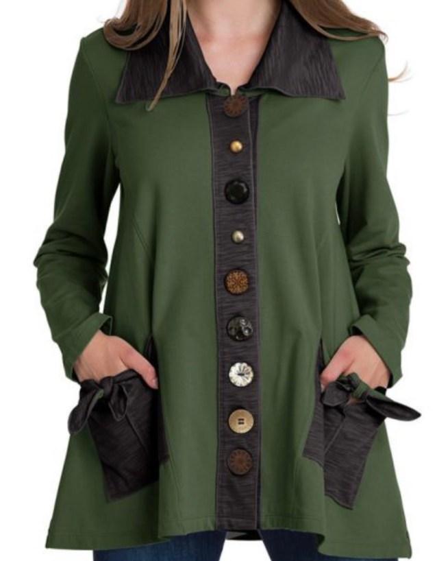 Moss green button tie jacket