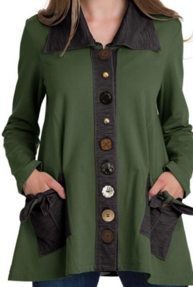 Moss green button tie jacket